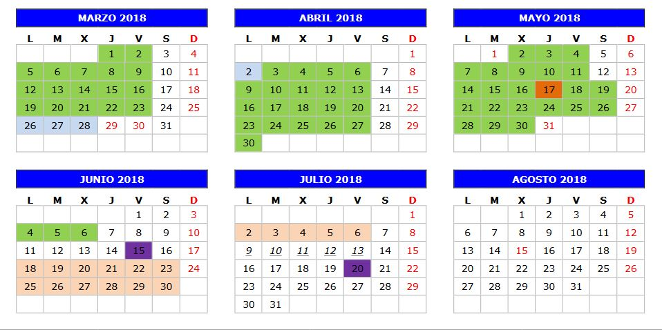 Calendarios 2018 Sep