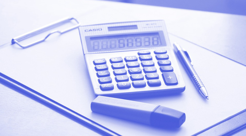 A calculator and a notepad