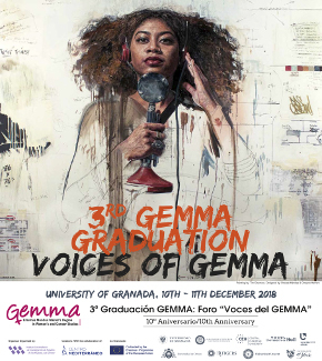 The programme poster, featuring a woman holding a microphone and looking directly at the viewer