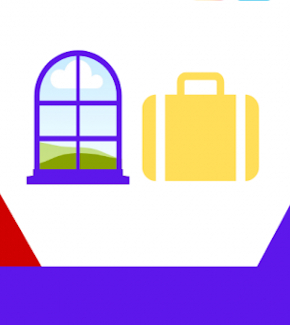 A window and a suitcase