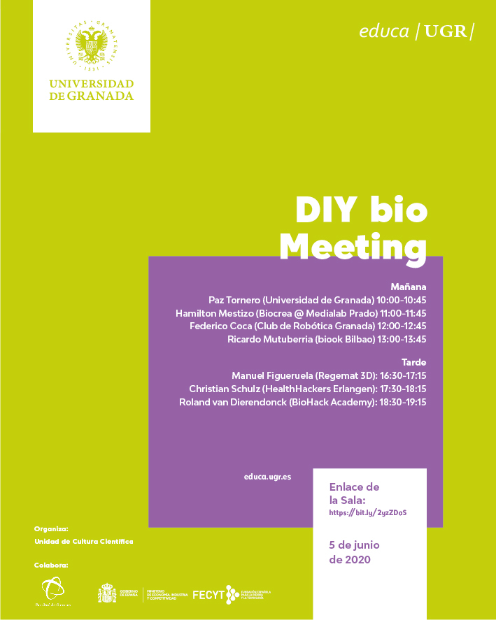 cartel del evento virtual DIYbio Meeting GRX